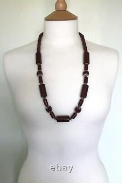 Antique Vintage Cherry Amber Red Bakelite Faturan Rare Prayer Beads Necklace 103
