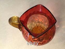 Antique Vintage Hobbs/Phoenix Amberina Ruby/Amber Coin Spot Dot GLASS PITCHER