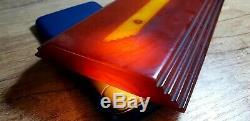 Antique Vintage Old Amber Bakelite Faturan Cherry Prayer Beads Block Veined 502g