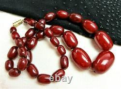 Antique Vtg Dark CHERRY AMBER BAKELITE Graduated Beaded 19 Necklace 40 Grams