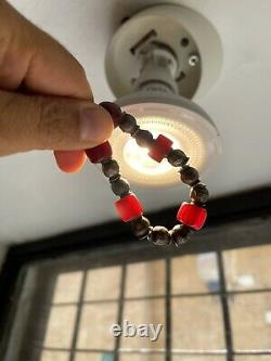 Antique art deco cherry amber bakelite faturan bead silver beads necklace