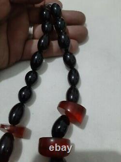 Antique cherry amber Bakelite misky veins necklace 160 gram