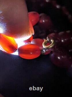 Antique cludy Cherry Amber berrel Backlite beads necklace