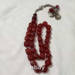 Antique genuine cherry amber bakelite faturan Prayer beads 70 gr