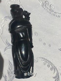 Antique hand-carved Chinese ruby amber-backlit Guan yin republic period 1912-49