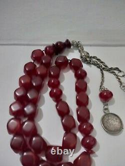 Antique handmade faturan Bakelite cherry amber prayer bead tasbih 77 gram
