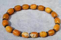 Antique natural Baltic amber super marble yellow, white, red colour bracelet 8 g