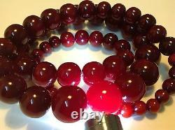 Antique original Chinese cherry Bakelite round Bead 192 gram necklace (m493)