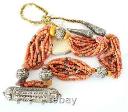 Antique original Yemeni Silver natural amber red coral Beads Bawsani necklace