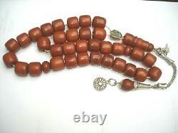 Antique ottoman cherry amber bakelite faturan tested islamic prayer beads 1900s