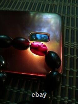 Antique red cherry dark bakelite faturan amber olive beads necklace 80 grams