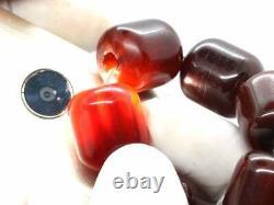 Art Deco Cherry Amber Bakelite Barrel Shape Faturan Antique Beads Necklace 83gr