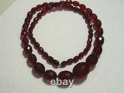 Authentic Antique Victorian Cherry Amber faceted beads