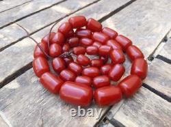 Bakelite Faturan Beads Necklace 115gr Antique Vintage Art Deco Cherry Red Amber