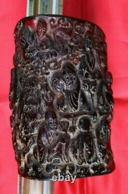Beautiful Antique Hand Carved Chinese Genuine Amber Brush Pot Brush Holder
