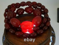 Beautiful Quality Art Deco Cherry Amber Necklace 88 G