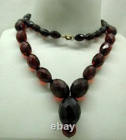 Beautiful Victorian Cherry Bakelite Amber Bead Necklace