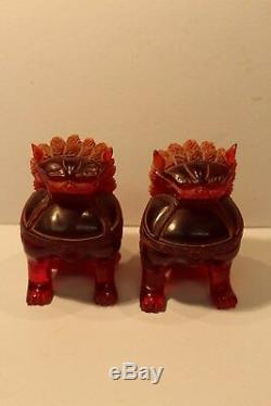 C19th Rare Natural Red Amber Pair Of Chinese Foo Dog Carved Figurines