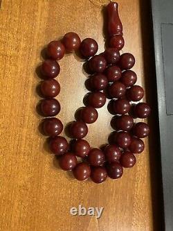 CHERRY AMBER BAKELITE SIKMA KEHRIBAR FATURAN PRAYER 125 gr RED MISBAH TESBIH