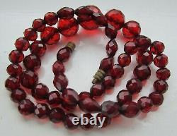 Cherry Amber Bakelite Bead Necklace Antique Art Deco 57 beads 23.7 grams