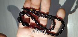 Cherry Amber Bakelite Beads Antique Vintage Faturan Necklace Tested 19g