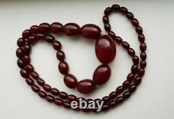 Cherry Amber Bakelite Beads Antique Vintage Faturan Necklace Tested 57g