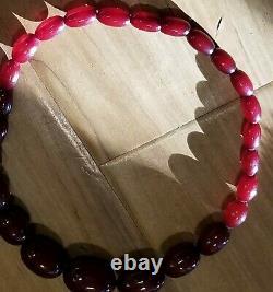 Cherry Amber Bakelite Faturan Antique 32+grams necklace Olive shape Authentic