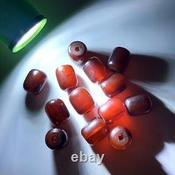 Cherry Amber Bakelite Prayer Beads Komboloi 33.1g Veined Tested Vtg Antique