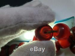 Cherry Amber Bakelite Veined Faturan 27 Prayer Beads Imame Antique Damari 52.9gr