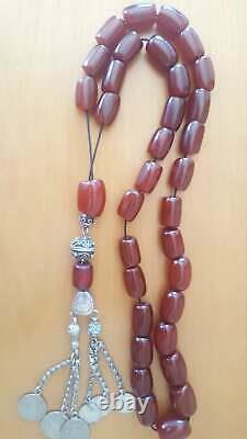 Cherry Amber Faturan Bakelite Antique Kehribar Prayer Misbaha Tesbih Beads 138gr