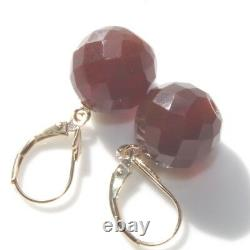 Cherry Amber Handmade 12mm Faceted Lever Back Antique Genuine 14k Earrings