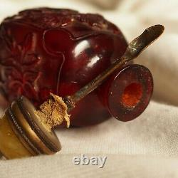 Chinese Antique Signed Handcarved Cherry Amber Snuff Bottle Lotus Calligraphy