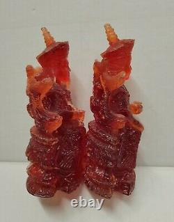 Chinese Carved Red Amber Figurines 6 Pair