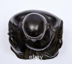 Chinese Dark Cherry Amber Bakelite Carved Carving Happy Buddha Figure 791 Gram