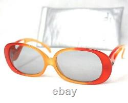 Christian Dior vintage orange red large gray amber sunglasses women 70s oversize