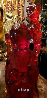 Colossal! Rare Hand Carved Chinese Cherry Amber Resin Wiseman(21.75H x 6.5W)