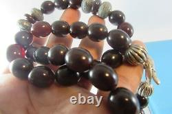 ESTATE Antique VINTAGE Deco dark Cherry Amber Beads Necklace