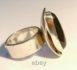 Fab Vintage Modernist Cherry Amber Sterling Silver Ring, Size 8.25