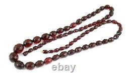 Fine Antique Art Deco Cherry Amber Bakelite Facetted Beads Necklace 53.3g