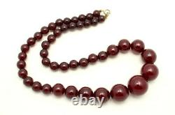 Fine Antique Graduated Cherry Amber Bakelite Faturan Bead Necklace