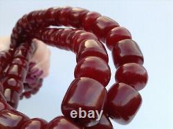 Genuine Antique 1920s, Cherry Amber Bakelite Faturan Necklace, 296g, 130 cm