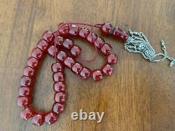 Genuine Antique Cherry Amber Bakelite Faturan Islam Prayer Beads Kehribar