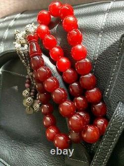 Genuine Antique Cherry Amber Bakelite Faturan Islamic Prayer Beads 130g