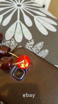Genuine Antique Cherry Amber Bakelite Faturan Islamic Prayer Beads Necklace