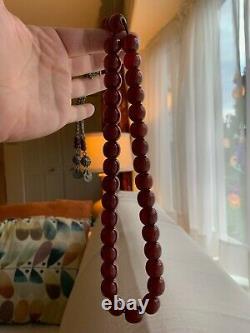 Genuine Antique Cherry Amber Bakelite Faturan Islamic Prayer Beads Royal Set