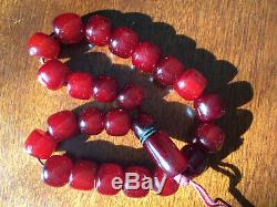 Genuine Antique Cherry Amber Bakelite Faturan Kehribar Prayer Beads