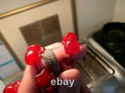 Genuine Antique Cherry Amber Bakelite Faturan Prayer Beads Damari 60g