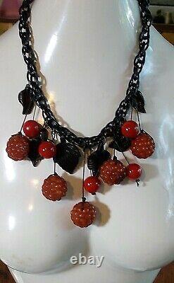 Genuine Antique Cherry Bakelite Necklace Amber Cherry Raspberries Black Leaves