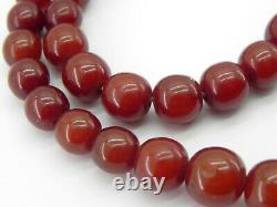 Genuine Large Antique Cherry Amber Bakelite Bead Necklace, c1920