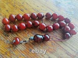 German Cherry Amber Faturan Bakelite Antique Worry Prayer Beads Tesbih Kompoloi